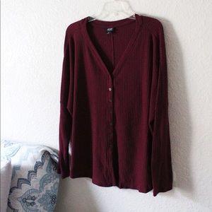 A.N.A | Burgundy Button Up Sz XL